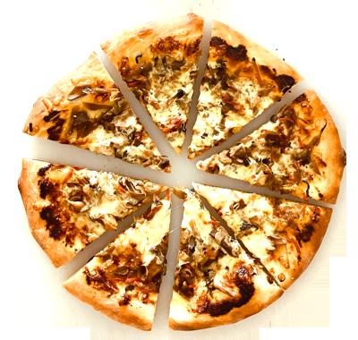 きんぴらごぼうとキノコのピザ